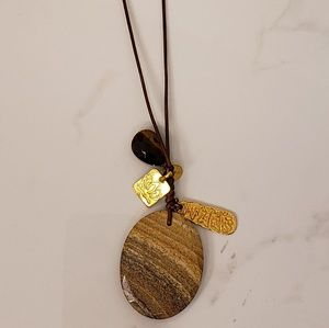 Chan Luu stone leather necklace